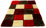 3d red grey rug