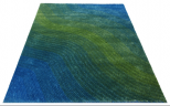 textured blue green rug
