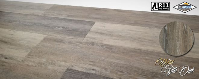 Luxury Wild silk oak grey ultimate vinyl planks R11 slip rated bestfloor